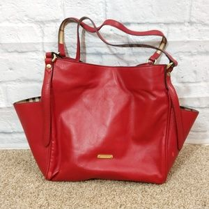 Burberry | Lambskin Cantebury Tote Red EUC